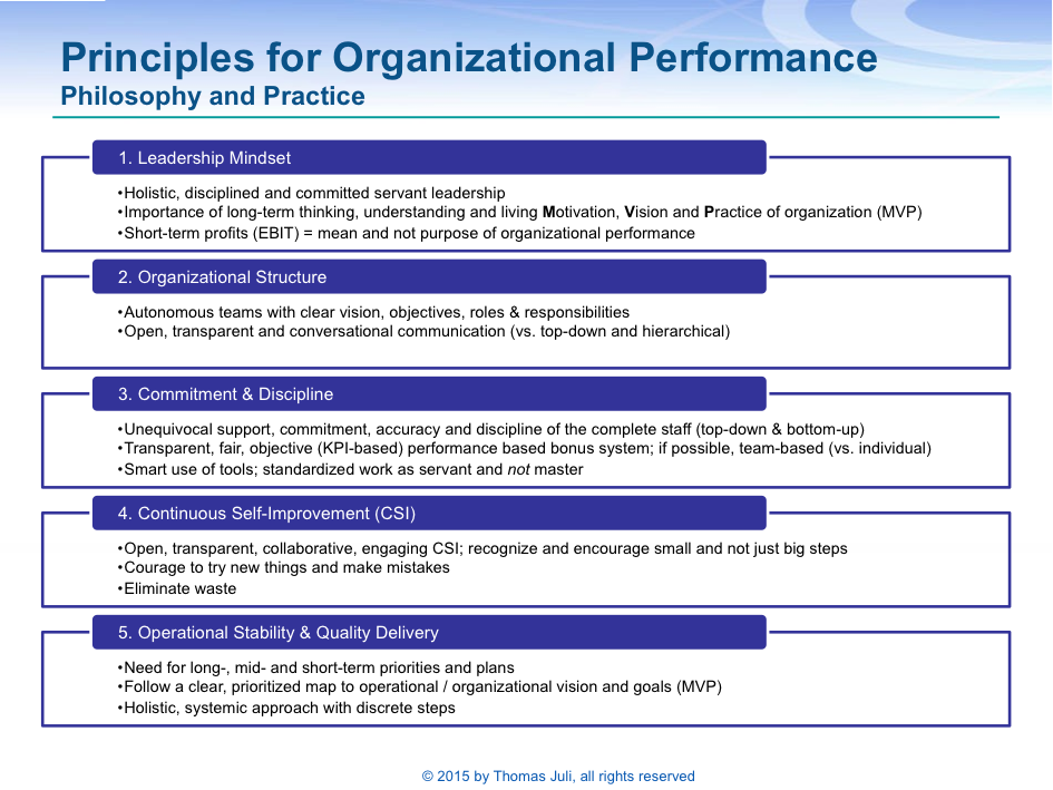 Leadership Principles for Organizational Performance